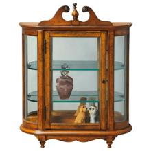 See Details - This distinctive wall curio is both functional and beautiful with two adjustable glass shelves and a mirrored back to display your prized possessions. The curved glass sides make it very unique. The glass paneled door features antique brass finished hardware. This future heirloom is made of select solid woods and wood veneers.