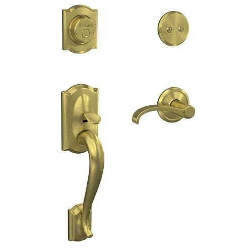Custom Camelot Inactive Handleset with Whitney Lever and Alden Trim - Satin Brass
