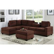 See Details - Albert Reversible Sectional with Drop Down Table and Storage Ottoman, Brown Fabric