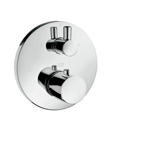 Brushed Black Chrome Thermostat for concealed installation with shut-off/ diverter valve