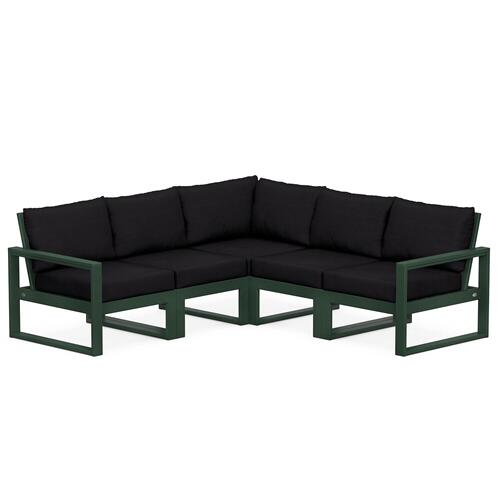 Polywood Furnishings - EDGE 5-Piece Modular Deep Seating Set in Green / Midnight Linen