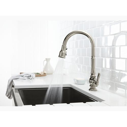 "Vibrant Stainless Single-hole Kitchen Sink Faucet With 17-5/8"" Pull-down Spout and Turned Lever Handle, Docknetik Magnetic Docking System, and 3-function Sprayhead Featuring Sweep and Berrysoft Spray"