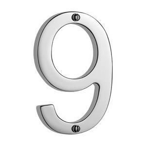 "Samuel Heath - Antique Brass Unlacquered Door numeral ""9"""