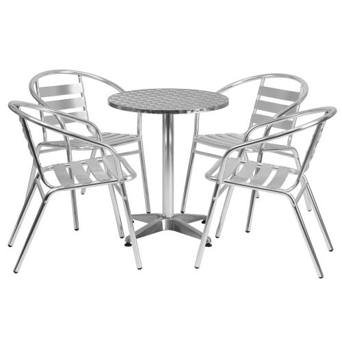 23.5'' Round Aluminum Indoor-Outdoor Table Set with 4 Slat Back Chairs