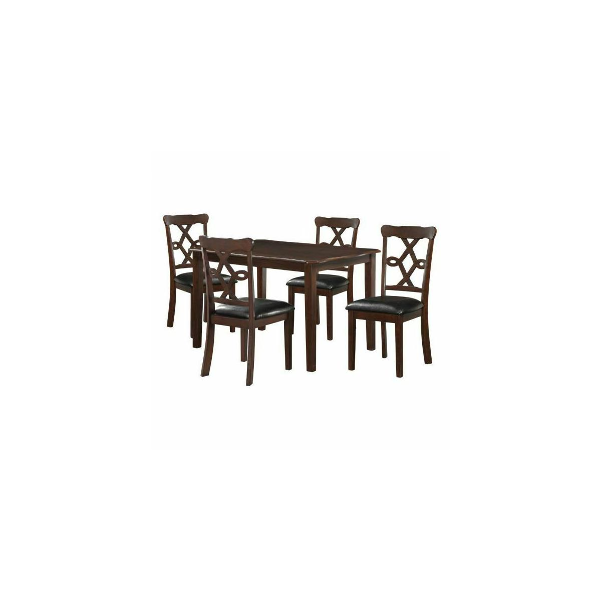 ACME Ingeborg 5Pc Pack Dining Set - 71835 - Black PU & Espresso