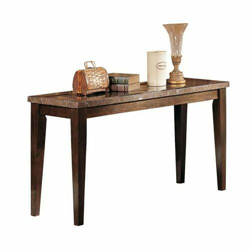 ACME Danville Sofa Table - 07144B - Black Marble & Walnut