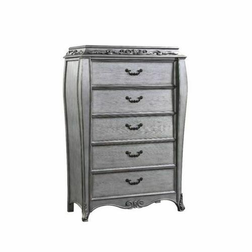 ACME Leonora Chest - 22146 - Glam - Wood (Poplar), Wood Veneer (Ash), Poly-Resin, MDF - Vintage Platinum