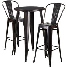 24'' Round Black-Antique Gold Metal Indoor-Outdoor Bar Table Set with 2 Cafe Stools