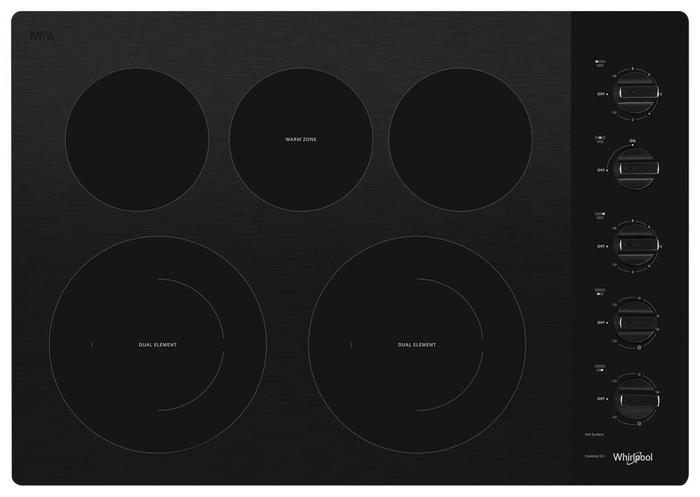 Whirlpool30-Inch Electric Ceramic Glass Cooktop With Two Dual Radiant Elements