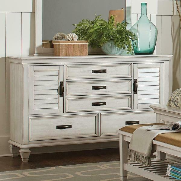 See Details - Franco Antique White Five-drawer Chest With Louvered Panel Doors