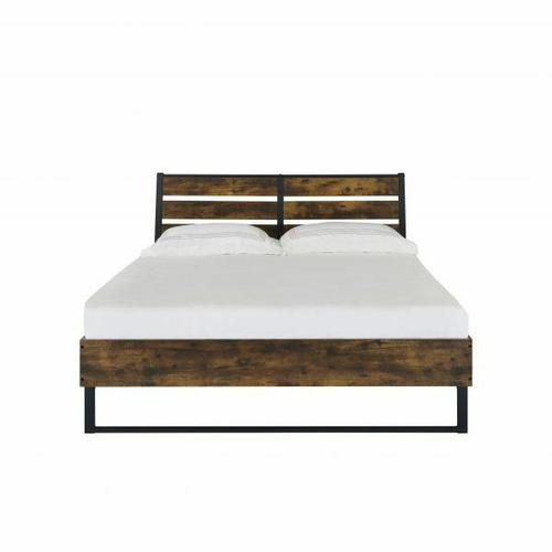 ACME Juvanth Eastern King Bed, Rustic Oak & Black Finish - 24247EK