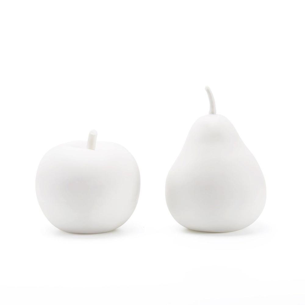 See Details - Apple & Pear Porcelain Figures, White