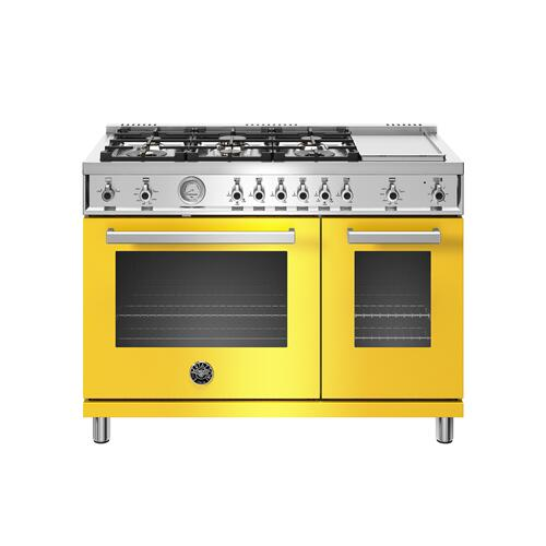Bertazzoni - 48 inch All-Gas Range 6 Brass Burner and Griddle Giallo