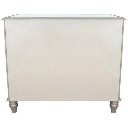 Butler Specialty Company - This glamorous console chest features elegant antique mirror inlays on its top, drawer fronts and sides. No detail is overlooked with a beveled edged top and striking pewter finished trim. Handcrafted from select hardwood solids and wood products with antique brass finished hardware.