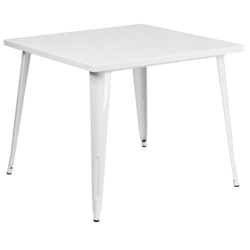 Alamont Furniture - 35.5'' Square White Metal Indoor-Outdoor Table