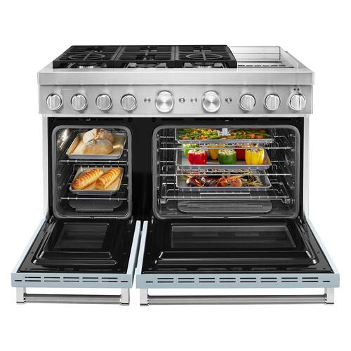 KitchenAid® 48'' Smart Commercial-Style Dual Fuel Range with Griddle Misty Blue