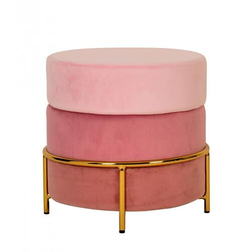VIG Furniture - Modrest Wallace - Modern Pink & Gold Fabric Ottoman