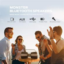 See Details - Monster Bluetooth Speaker, Adventurer Force IPX7 Waterproof Bluetooth Speaker 5.0 with Microphone Input, 40W Portable Bluetooth Speakers with 40H Playtime for Indoor Outdoor Party, Black