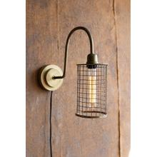 See Details - antique brass wall lamp with wire mesh shade