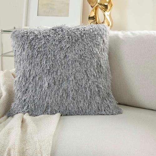"Shag Tl048 Light Grey 20"" X 20"" Throw Pillow"