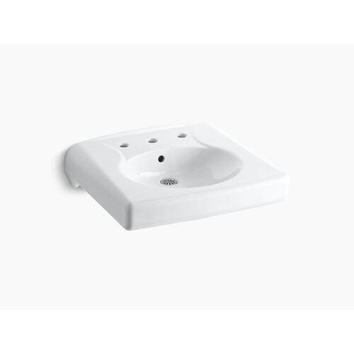 White Wall-mounted or Concealed Carrier Arm Mounted Commercial Bathroom Sink With Widespread Faucet Holes
