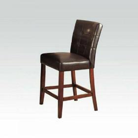 ACME Bologna Counter Height Chair (Set-2) - 07242 - Espresso PU & Brown Cherry