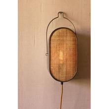 See Details - oval metal wall light with rattan detail