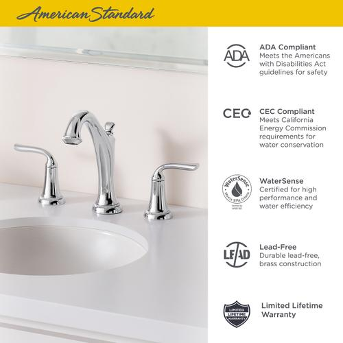 Patience Widespread Bathroom Faucet  American Standard - Polished Chrome