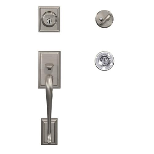 Custom Addison Single Cylinder Handleset and Interior Hobson Glass Knob with Kinsler Trim - Satin Nickel