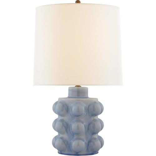 AERIN Vedra 27 inch 100 watt Polar Blue Crackle Table Lamp Portable Light, Medium