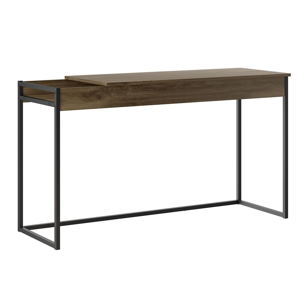 The Noa Office Desk Part Of Our Kd Collection In Dark Brown Oak Melamine With Black Painted Metal Frame
