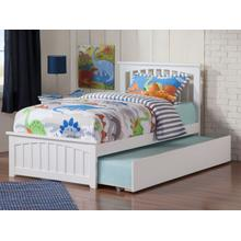 Mission Twin Bed with Matching Foot Board with Urban Trundle Bed in White