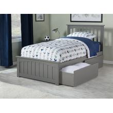 Mission Twin Bed with Matching Foot Board with 2 Urban Bed Drawers in Atlantic Grey