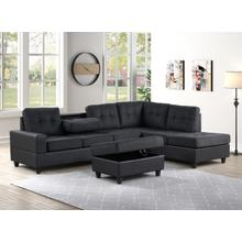 See Details - Albert Reversible Sectional with Drop Down Table and Storage Ottoman, Black & Black