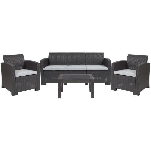 4 Piece Outdoor Faux Rattan Chair, Sofa and Table Set in Dark Gray