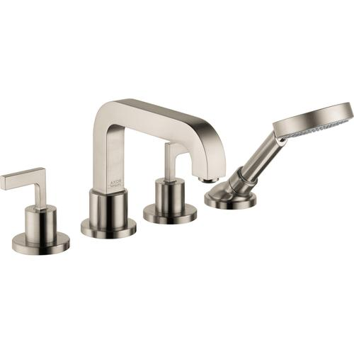 AXOR - Brushed Nickel 4-Hole Roman Tub Set Trim with Lever Handles and 1.75 GPM Handshower