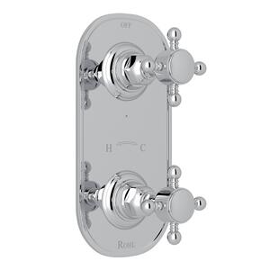 "Polished Chrome Italian Bath 1/2"" Thermostatic/Diverter Control Trim with Cross Handle Product Image"