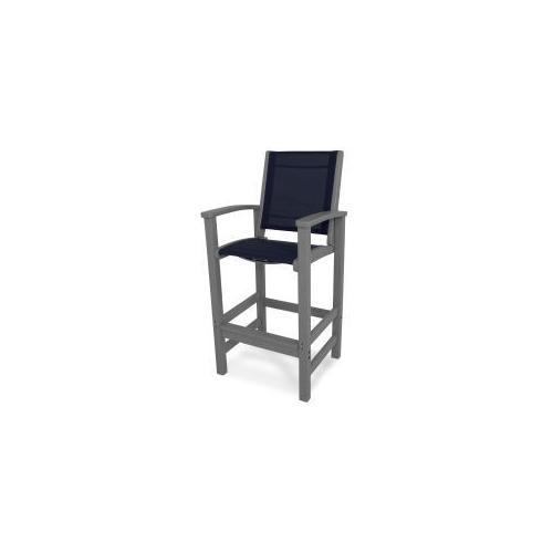 Polywood Furnishings - Coastal Bar Chair in Slate Grey / Navy Blue Sling