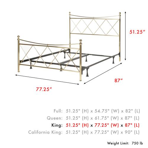 Fashion Bed Group - Lennox Complete Metal Bed and Steel Support Frame with Diamond Pattern Design and Downward Sloping Top Rails, Classic Brass Finish, King