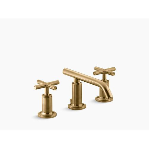 Vibrant Moderne Brushed Gold Widespread Bathroom Sink Faucet With Low Cross Handles and Low Spout