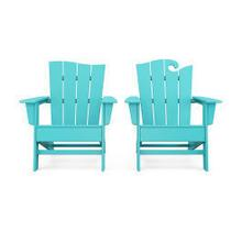 View Product - Wave 2-Piece Adirondack Set with The Wave Chair Left in Aruba