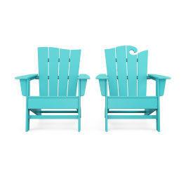 Polywood Furnishings - Wave 2-Piece Adirondack Set with The Wave Chair Left in Aruba