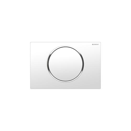 Sigma10 Flush plates for Sigma series in-wall toilet systems White with polished chrome accent Finish