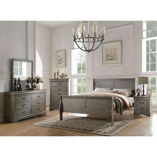 ACME Louis Philippe Eastern King Bed - 23857EK - Antique Gray