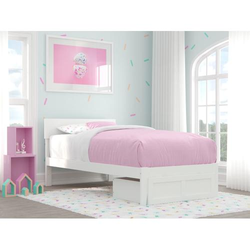 Atlantic Furniture - Boston Twin Bed with Foot Drawer in White