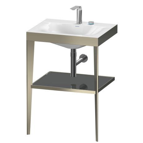 Furniture Washbasin C-bonded With Metal Console Floorstanding, Flannel Gray High Gloss (lacquer)