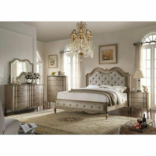 ACME Chelmsford Eastern King Bed - 26047EK - Beige Fabric & Antique Taupe