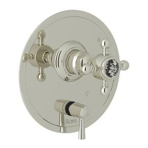 Pressure Balance Trim with Diverter - Polished Nickel with Crystal Cross Handle