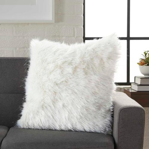 """Fur Vv059 White 17"""" X 17"""" Throw Pillow"""