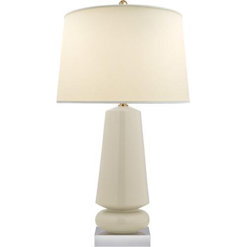 Visual Comfort - E. F. Chapman Parisienne 35 inch 150.00 watt Coconut Porcelain Table Lamp Portable Light, E.F. Chapman, Medium, Natural Percale Shade